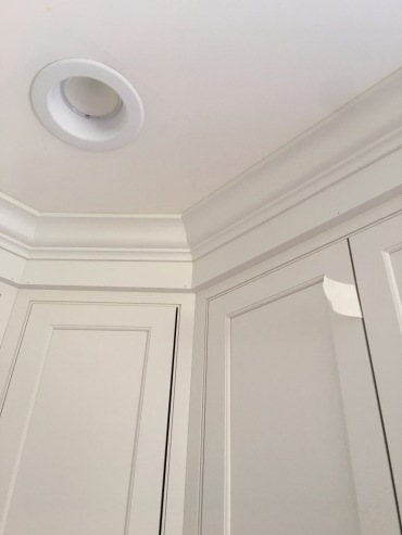 Crown moulding is so pretty, draws the eye upward and is the finishing touch. Our carpenter is meticulous!